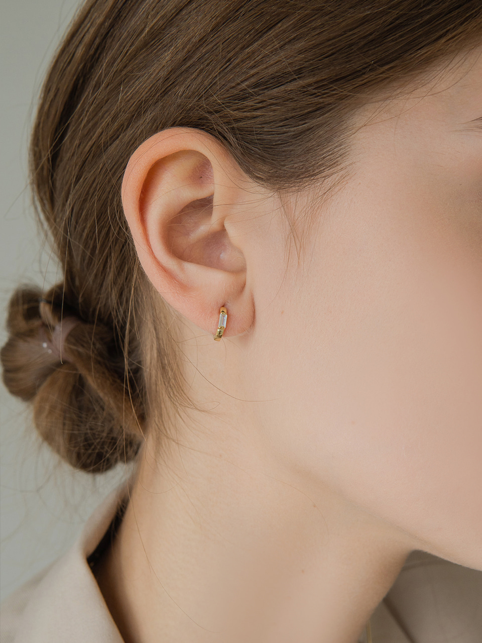 mini cubic ring earring