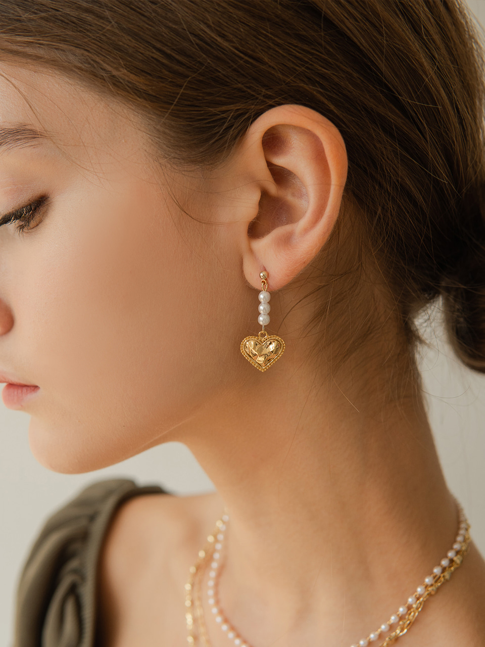 love pearl drop earring