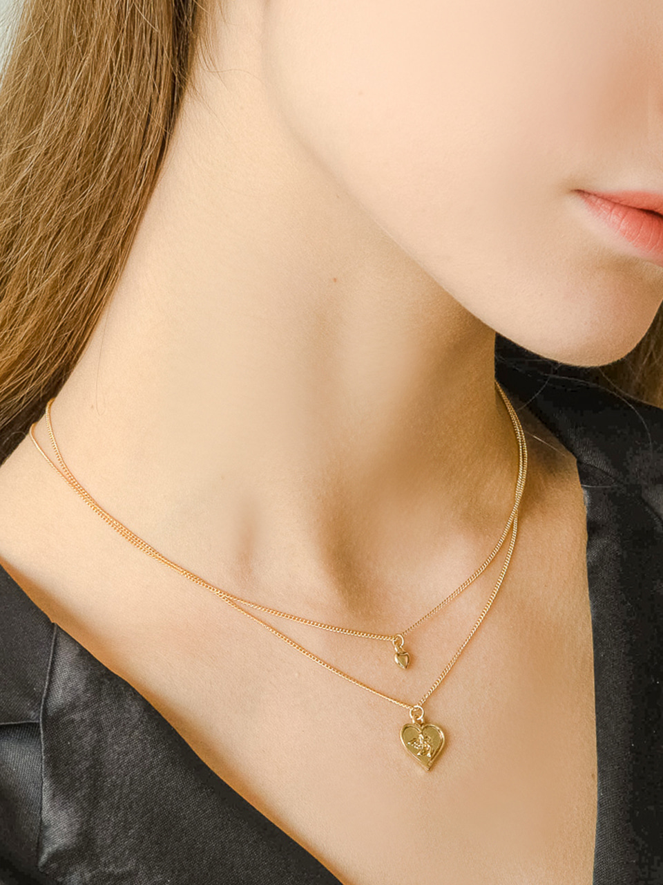 heart coin layered necklace